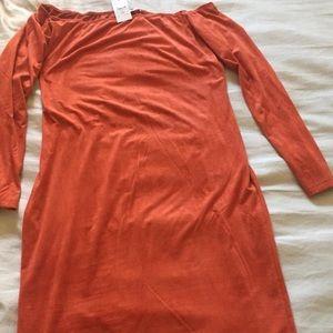 Rust - Velvet - Off Shoulder Midi Dress - 3X